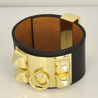 High quality 1 . 1 genuine leather bracelet adjustable cbd rivet women's punk bracelet h