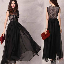 Dresses designer new fashion 2013 white black evening the lace dress women see through retro lace sleeveless vest dress QZ156(China (Mainland))