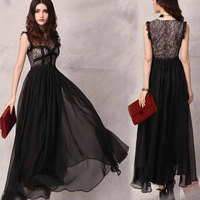 Dresses designer new fashion 2013 white black  evening the lace dress women see through retro lace sleeveless vest dress QZ156