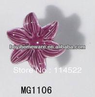new design moulded lily flower ceramic knob handle cabinet pull kitchen cupboard knob kids drawer dresser knobs MG1106