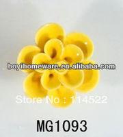 new design handmade hot sale flower ceramic knobs handles cabinet pull kitchen cupboard knob kids drawer knobs MG1093