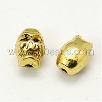 Closeout Metal Alloy Beads,  Skull Beads for Halloween,  Antique Golden,  about 6mm wide,  8mm long,  7.5mm thick,  hole: 2.5mm