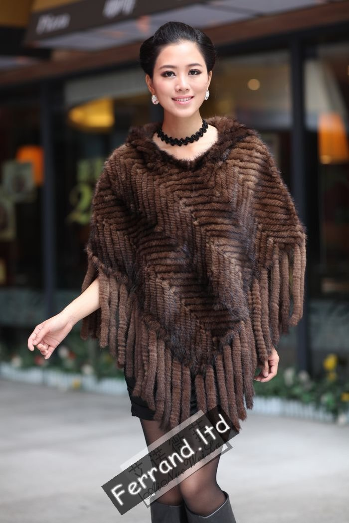 New Real Genuine Knit/Knitted Mink Fur Cape Shawl Poncho Jacket With Hood PS19(China (Mainland))
