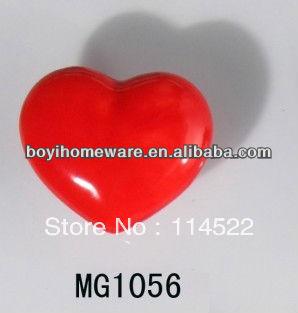 moulded popular heart shaped red ceramic knob handles cabinet pull kitchen cupboard knob kids drawer dresser knobs MG1056