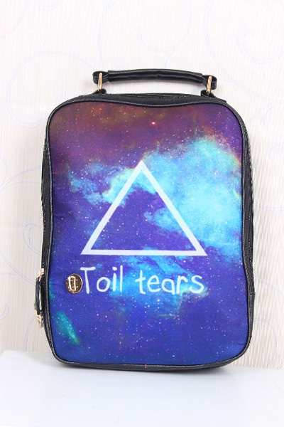 Top Quality ! New Design PU Toil Tears Triangel Harajuku Style Galaxy Water Backpack Hydration LB7049 Free Shipping(China (Mainland))