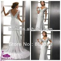 Coral-130 Backless Sexy Style White Chiffon Floor Length V-neckline Short Sleeve Wedding Dress