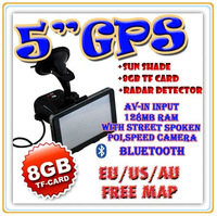 "Free Shipping 5"" 8GB 128MB Bluetooth GPS navigation & RADAR DETECTOR & Sun Shade ,speedcam,TTS"