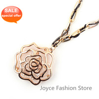 Min order $10, Hot sale!Gold Plated Cut Rose Hollow Crystal Chain Necklace,Elegant Long Pendant Necklace