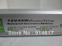 Free shipping  DC Waterproof LED Driver Power Supply 12V 45W 3.75A AC170V~240V