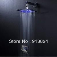 Chrome Finish Brass 8-inch 3 Color change LED Square concealed shower set led