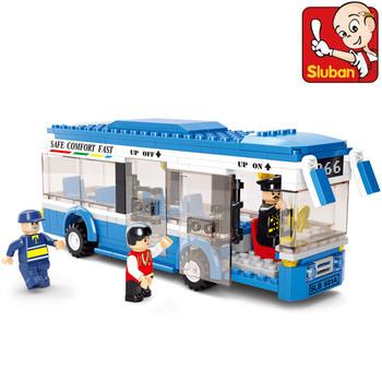 Free shipping Sluban M38-B0330 City single tier Bus children educational assembling toys 3D DIY building blocks toy