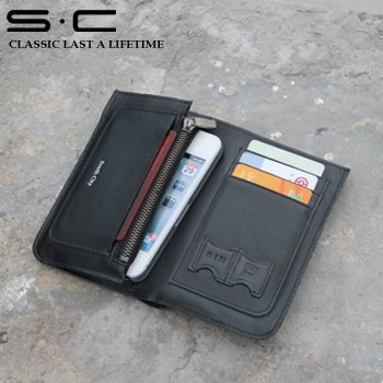 S.C Free Shipping wholesale 100% real soft leather phone accessories/for Iphone4g Case/Mobile Purse W12PC0002