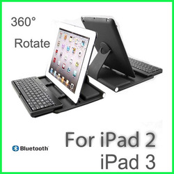 New 360 Rotate Case Wireless Bluetooth Keyboard Case Cover with Stand Bracket for iPad 2 3 new ipad 4(Hong Kong)