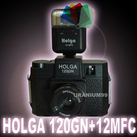 Holga 120 GN Glass Optical Lens Lomo Toy Medium Format Film Camera ( Black ) + 12MFC 5 Color Flash Lomography Photography