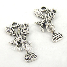 Free Shipping Lots 35PCS Tibetan Silver Alloy Honey Bee Charm Pendant Jewelry Finding 18x25mm TS9845