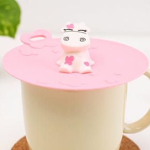 Home cartoon milk cow fashion cat silica gel dust plug leak-proof glass mug lid