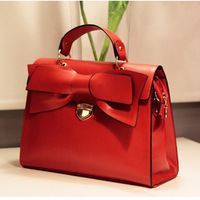 New 2013  women leather handbag Hot Spring Red Bow women's handbag bridal bag document portable women's one shoulder bag