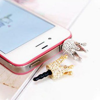 Min.order is $10 (mix order) crystal dust plug for iphone earphones 4 plug basic mobile phone 4016