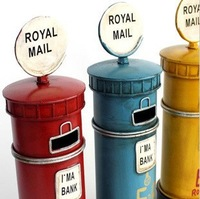 zakka Tin toy Iron Crafts village old Classics Retro London Royal mail box office home decoration gift  Photography props