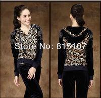 2013 Spring/Autumn korean/Gold Velvet set leopard Print Leisure track suits black, navy VP WS004