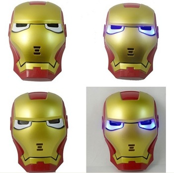 Hot Newest Iron Man Mask Blue LED Eyes Halloween Toy for Children Boys Carnival Mask Free Shipping