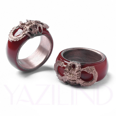 19mm pair of red coral gold filled blessing totem mens unisex thumb couple ring(China (Mainland))