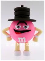 Wholesale Hot Cheap Enough Cartoon Pink M-Beans 4GB 8GB 16GB 32GB  USB 2.0 Flash Memory Stick Drive