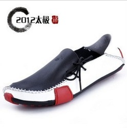 Male casual shoes male genuine leather plus size shoes fashion shoes italian handmade low sailing single shoes(China (Mainland))