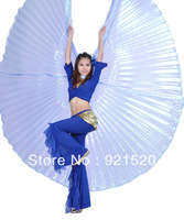 BIG SALE !!!New Belly Dance Costume Rainbow Silky Wing,blue