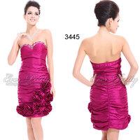 03445 Ever Pretty Cheap Cute Designer Strapless Pinks Ruffles Flower Bridesmaid Dress 2014