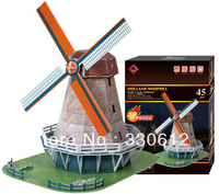 FREE SHIPPING 3D Puzzle HOLLAND WINDMILL The World Great Achitecture educational toys for kids decoraction NEW ARRIVAL HOT