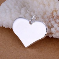 Top Quality Free Shipping 925 Silver Plated Charms Heart Pendant Fit Fashion Jewelry Necklace Nickle free antiallergic P143