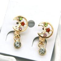 Min Order 12$ Fashion Jewelry Vintage Colorful Rhinestone Star Drop Earrings Alloy Earring ES0340
