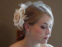 Bridal veil style yarn handmade feather flower accessories mesh veil