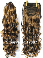 "Curly Ponytail Hairpieces 22"" Drawstring Ponytail Synthetic Hair Tail Clip in Ponytail Extensions 2/30 Light Brown Ponytail Hair"