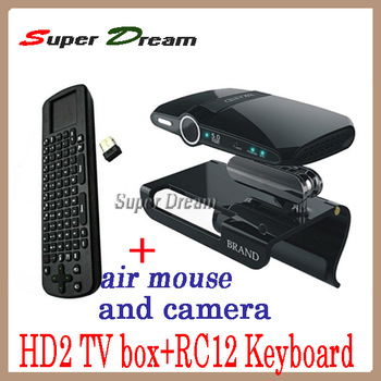 2pcs=1pcs 5.0MP camera Mic Allwinner A10 ARM 1080P HDMI RAM 1GB/8GB skype HD2(EU2000)  android tv box&stick+1pcs RC 12 Keyboard