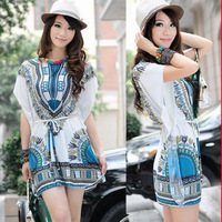 2014 New Korea Women Floral tunic Mini Dress Casual Shirt Tops Summer Mixed Wholesale Q234