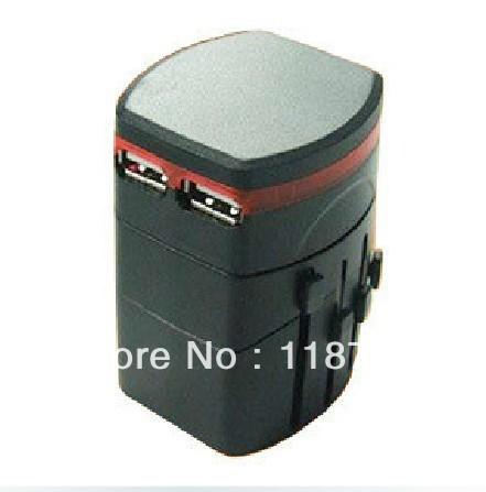 Global plug converter multifunctional transformation socket universal conversion plug with 2 USB charger(China (Mainland))