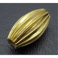 Brass Corrugated Beads,  Oval,  Unplated Color,  Nickel Free,  Size: about 6mm wide,  11mm long,  hole: 1mm