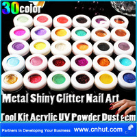 Free Shipping 30 sets 30 Color Metal Shiny Glitter Nail Art Tool Kit Acrylic UV Powder Dust gem	total 900 pcs