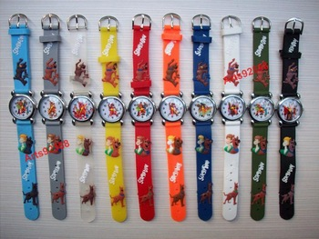 Wholesale 10PCS Lovely Cartoon 3D Scooby Doo Children Kids Girls Boys Students Quartz Wrist Watches, C23, Free & Drop Shipping