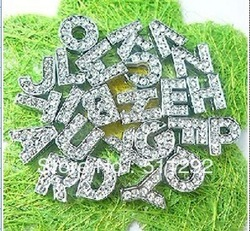 Free shipping!260pcs/lot 10mm A-Z Full Rhinestone Slide letters Charm DIY Accessories fit pet collar dog collar or bracelet(China (Mainland))