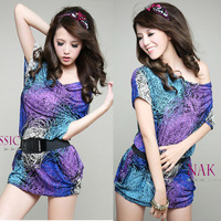 2013 New Korea Women tunic Mini Dress Boho Shirt Casual Tops Summer with Belt Size & Color Customization Mixed Wholesale Q267