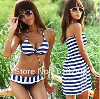 Free shipping 2014 New arrival Navy Zebra Striped Sexy Plus Size Bathing Suits Lady Swimwear and bikini for women 3pcs/set