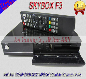 Freeshipping Skybox F3 Dual Core CPU 1080P Full HD DVB-S MPEG4 Satellite receiver Sky box F3 support usb wifi newcam YouTube