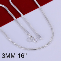 N192-16 Promotion! wholesale 925 silver necklace, 925 silver fashion jewelry Chain 3mm Snake Bone Necklace-16 N1