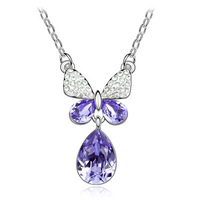 Free shipping Hot sales   Fashion jewelry Water droplets butterfly necklace 4352-66