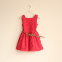 Baby girls dress kids children elegant lace with belt girl dresses 0412 sylvia 1223612459