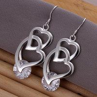E174 Wholesale 925 silver earrings, 925 silver fashion jewelry, Inlaid Double Heart Earrings