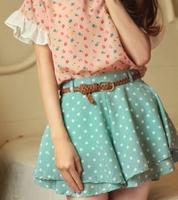 2015  summer  chiffon polka dot short half-length skirt female pleated skirt